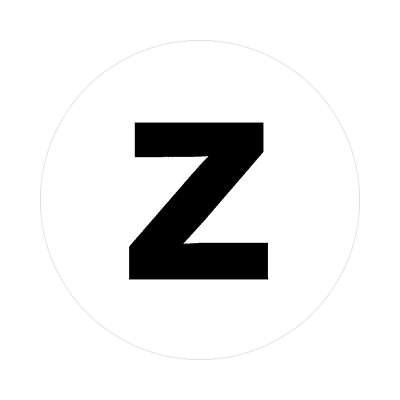 letter z lowercase white black sticker