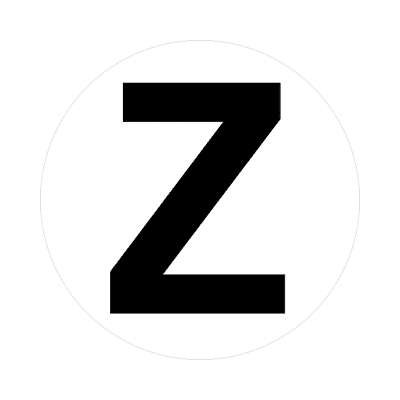 letter z uppercase white black sticker