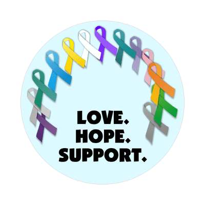 love hope support aqua multicolor awareness ribbons sticker