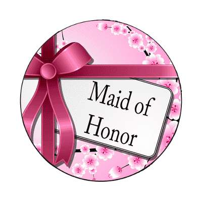 maid of honor pink ribbon card magnet