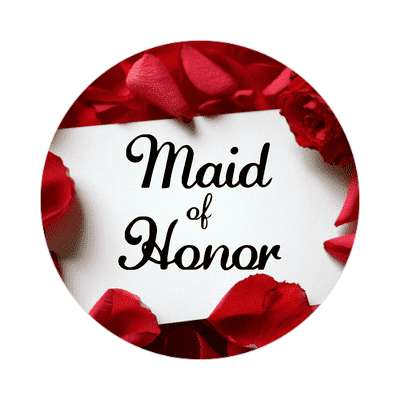 maid of honor red petals card sticker
