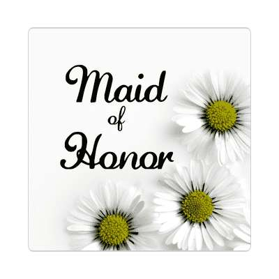 maid of honor three yellow white flowers sticker