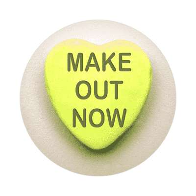 make out now valentines day heart candy sticker
