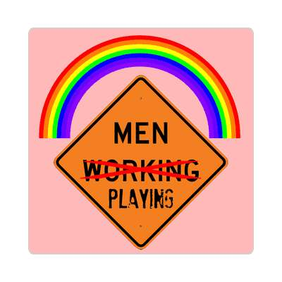 men playing rainbow crossed out roadsign sticker