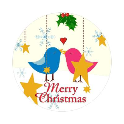 merry christmas blue pink birds stars flakes  sticker