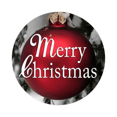 merry christmas classic ornament red bulb sticker
