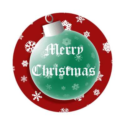 merry christmas colors red green bulb sticker