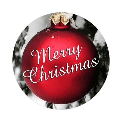 merry christmas ornament red classic sticker