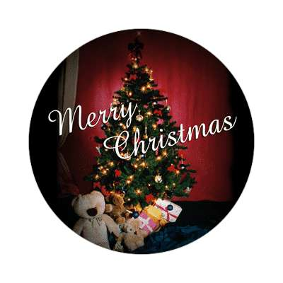 merry christmas tree classic gifts sticker