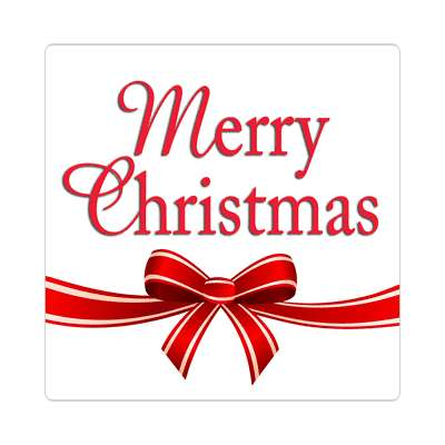 merry christmas white red ribbon classic sticker