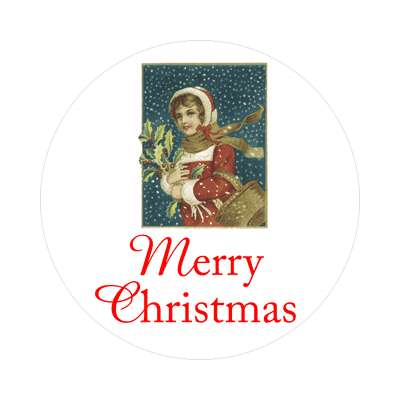 merry christmas woman vintage classic sticker