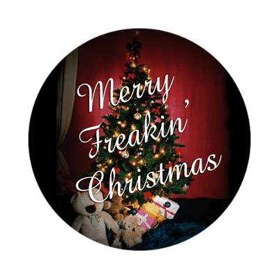 merry freakin christmas fun tree decorations gifts sticker