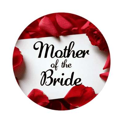 mother of the bride red petals card sticker