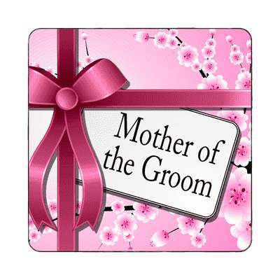 mother of the groom pink ribbon card magnet