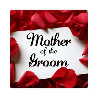 mother of the groom red petals card sticker