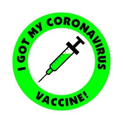 needle green i got my coronavirus vaccine stickers, magnet