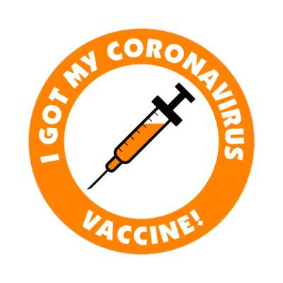 needle i got my coronavirus vaccine orange stickers, magnet