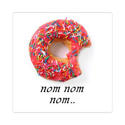 nom nom nom pink donut bite mark sticker