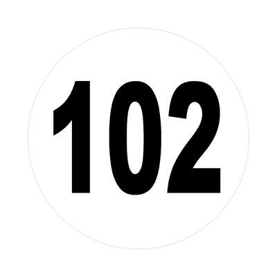 number 102 white black sticker