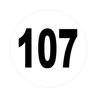 number 107 white black sticker