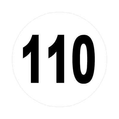 number 110 white black sticker