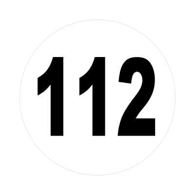 number 112 white black sticker