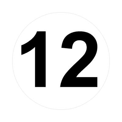 number 12 white black sticker