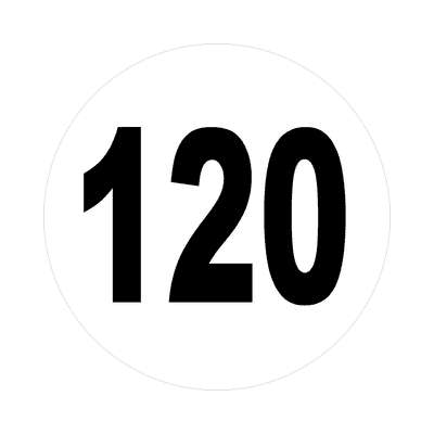 number 120 white black sticker