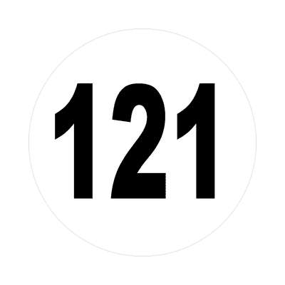 number 121 white black sticker