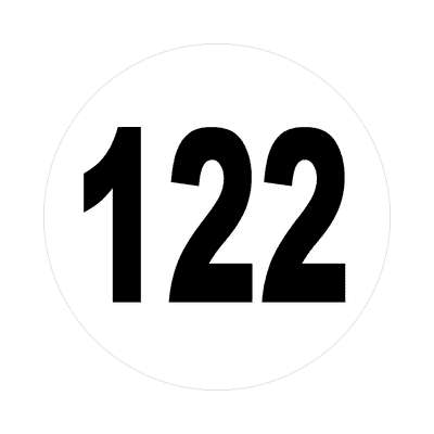 number 122 white black sticker