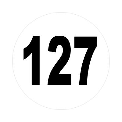 number 127 white black sticker