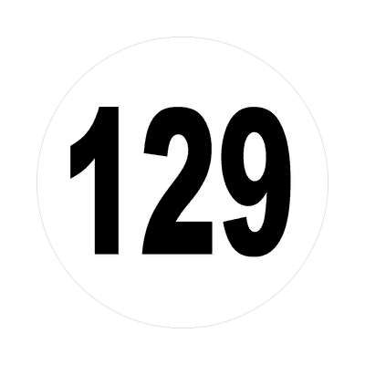 number 129 white black sticker