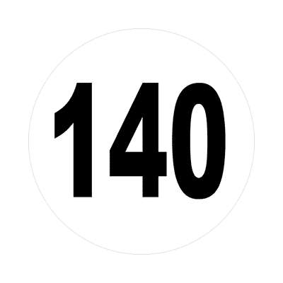 number 140 white black sticker