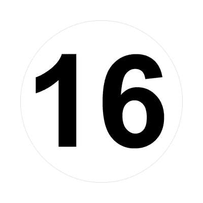 number 16 white black sticker