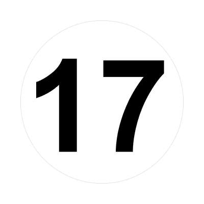number 17 white black sticker