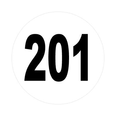 number 201 white black sticker