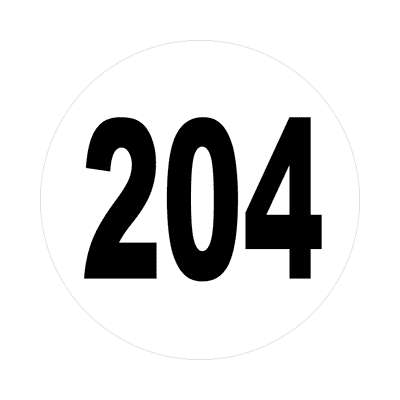 number 204 white black sticker