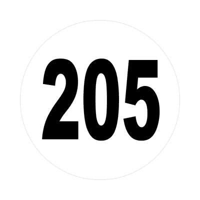 number 205 white black sticker