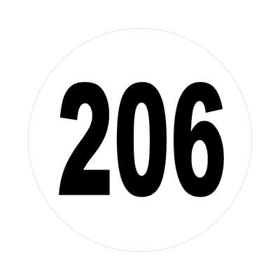 number 206 white black sticker