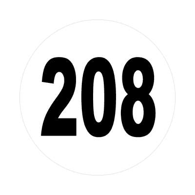 number 208 white black sticker