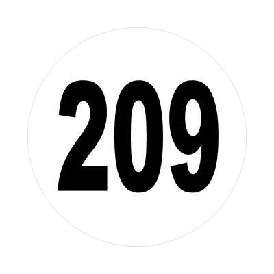 number 209 white black sticker