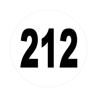 number 212 white black sticker