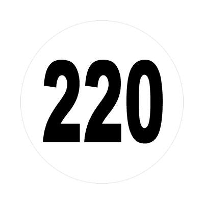 number 220 white black sticker