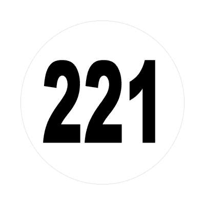 number 221 white black sticker