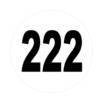 number 222 white black sticker
