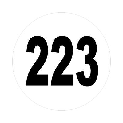 number 223 white black sticker