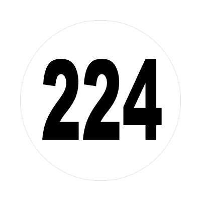 number 224 white black sticker