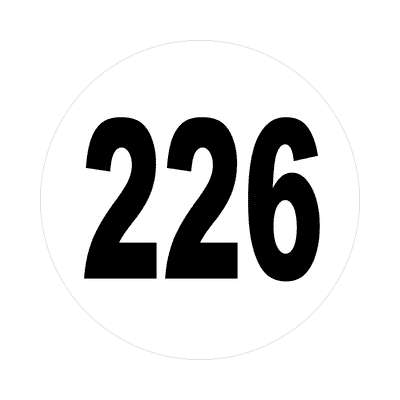 number 226 white black sticker