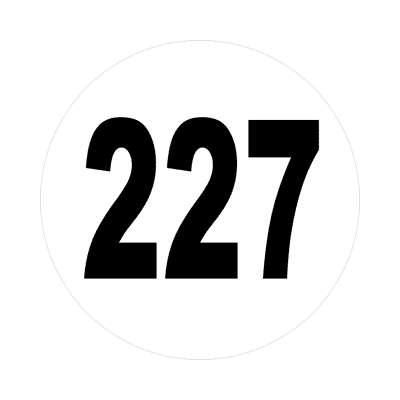 number 227 white black sticker