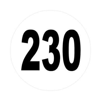 number 230 white black sticker